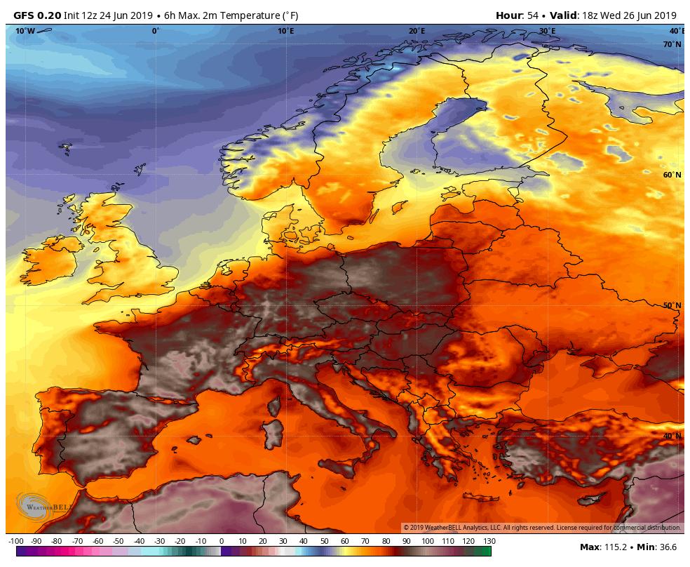 Прогнозы температуры в Европе