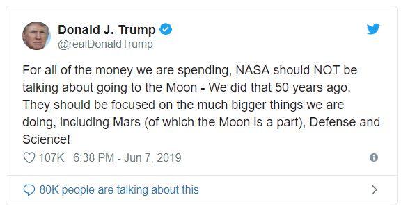 Курьезный твит Трампа о том что Луна часть Марса
