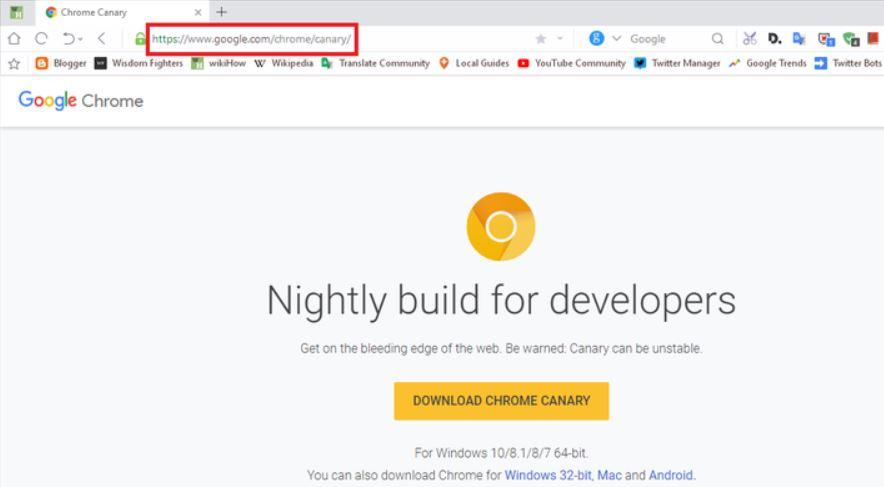 ночная сборка браузера Chrome